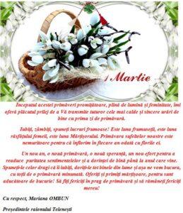 MESAJUL DE FELICITARE A PREȘEDINTELUI RAIONULUI MARIANA OMBUN CU OCAZIA 1 MARTIE